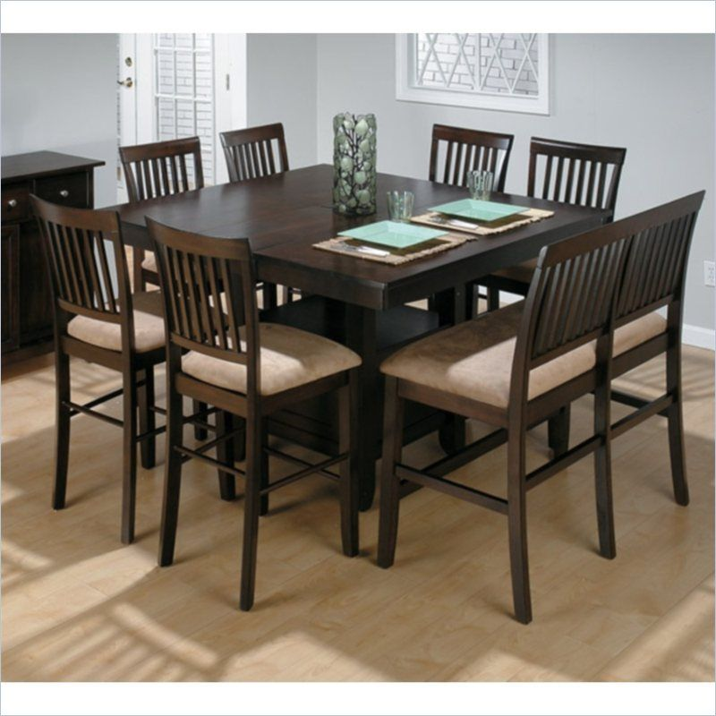 Jofran 373 Series Counter Height 8 Piece Dining Table Set In Cherry
