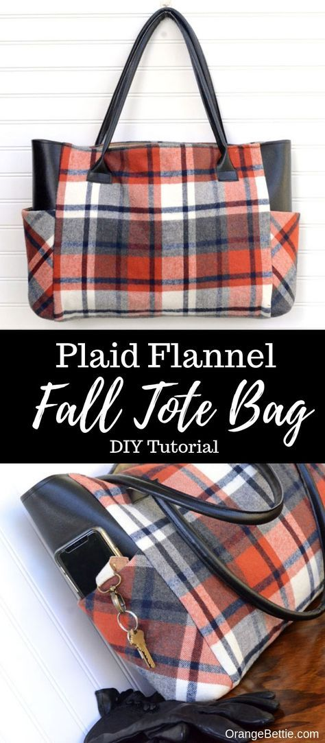 Plaid Flannel Fall Tote Bag - Sewing Tutorial #bagpatterns