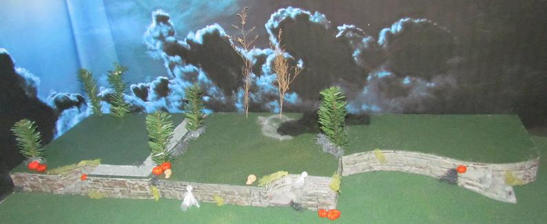 Haunted Halloween VILLAGE DISPLAY BASE 42x12 Dept 56 Lemax miniature Multi level Curving add on Modular to Grow! Dept 56 Snow village Noph