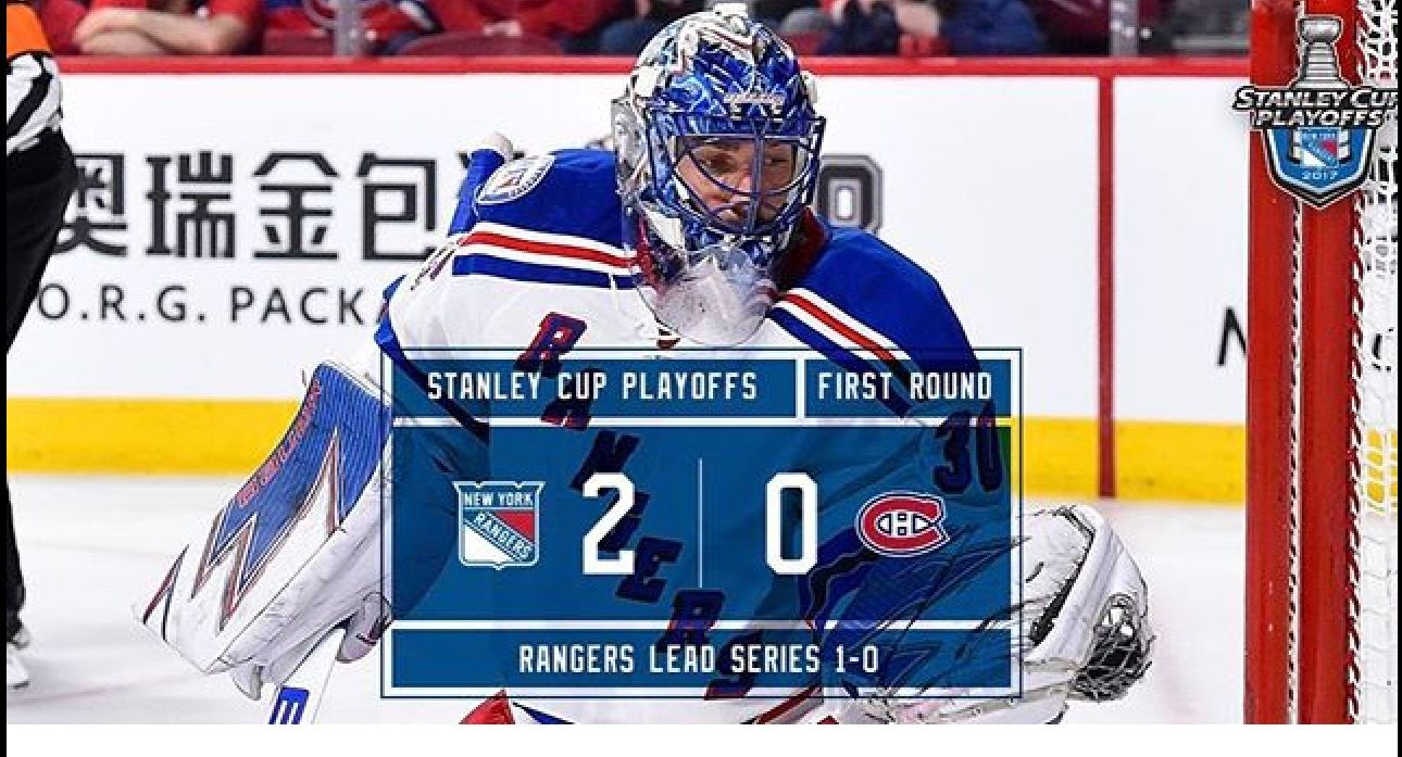 4/12/17 Game 1 Stanley Cup Playoffs 2-0 Rangers Win