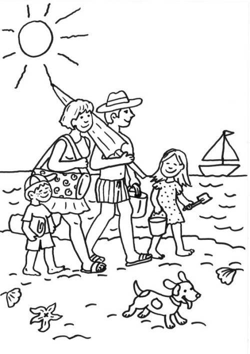 Familie am Strand ausmalen zum Ausmalen Ausmalen