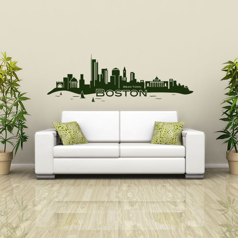 Style and Apply Boston Skyline Vinyl Wall Decal