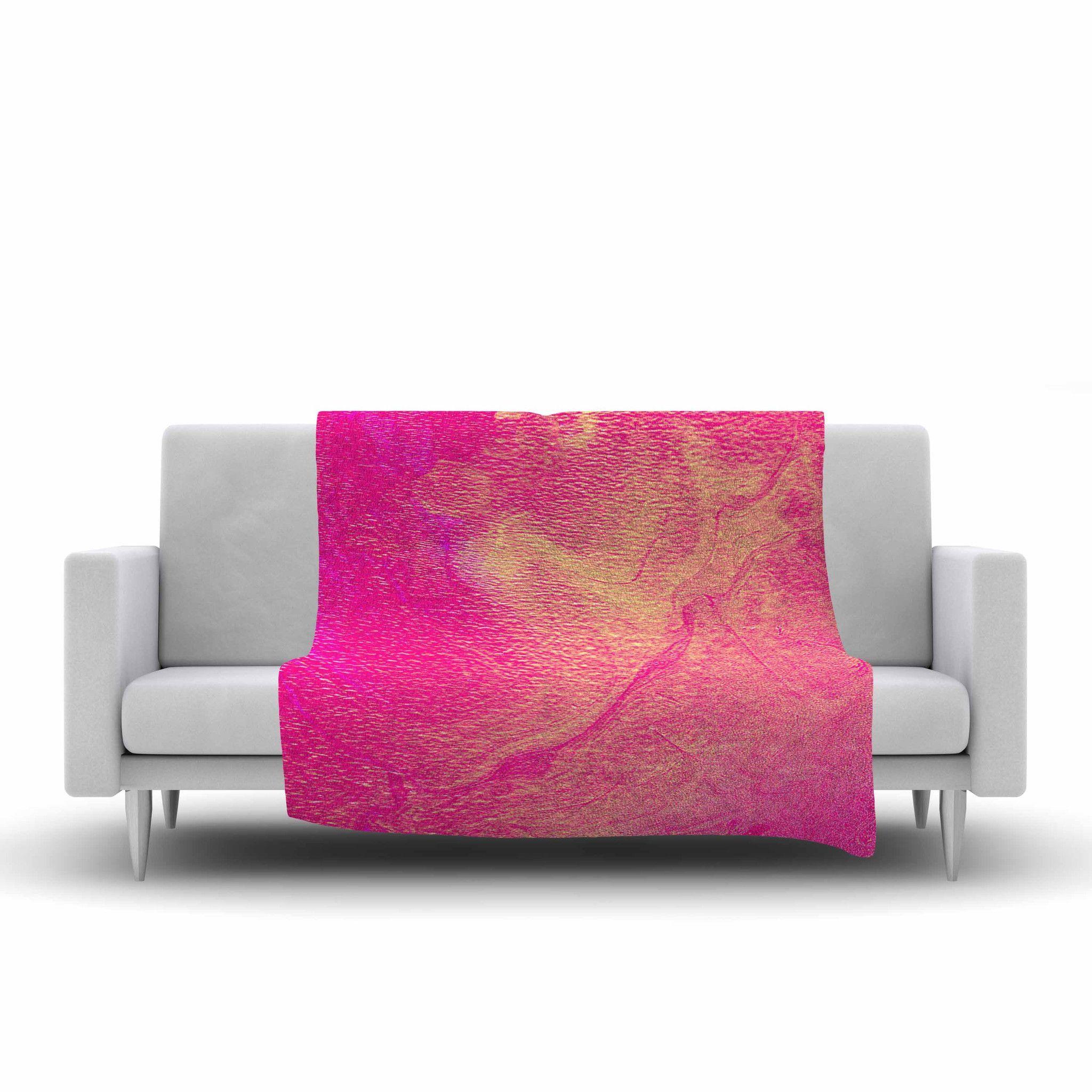 "Ashley Rice ""AC1"" Pink Watercolor Fleece Throw Blanket"