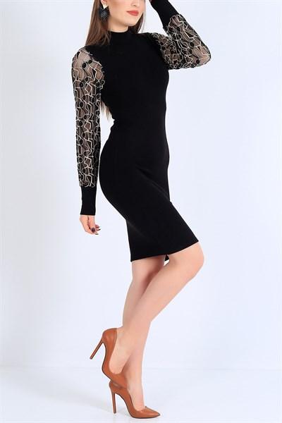 47 95 Tl Kollari Tullu Islemeli Siyah Triko Elbise 25336b Modamizbir 2020 Moda Stilleri Elbise Mini Elbiseler