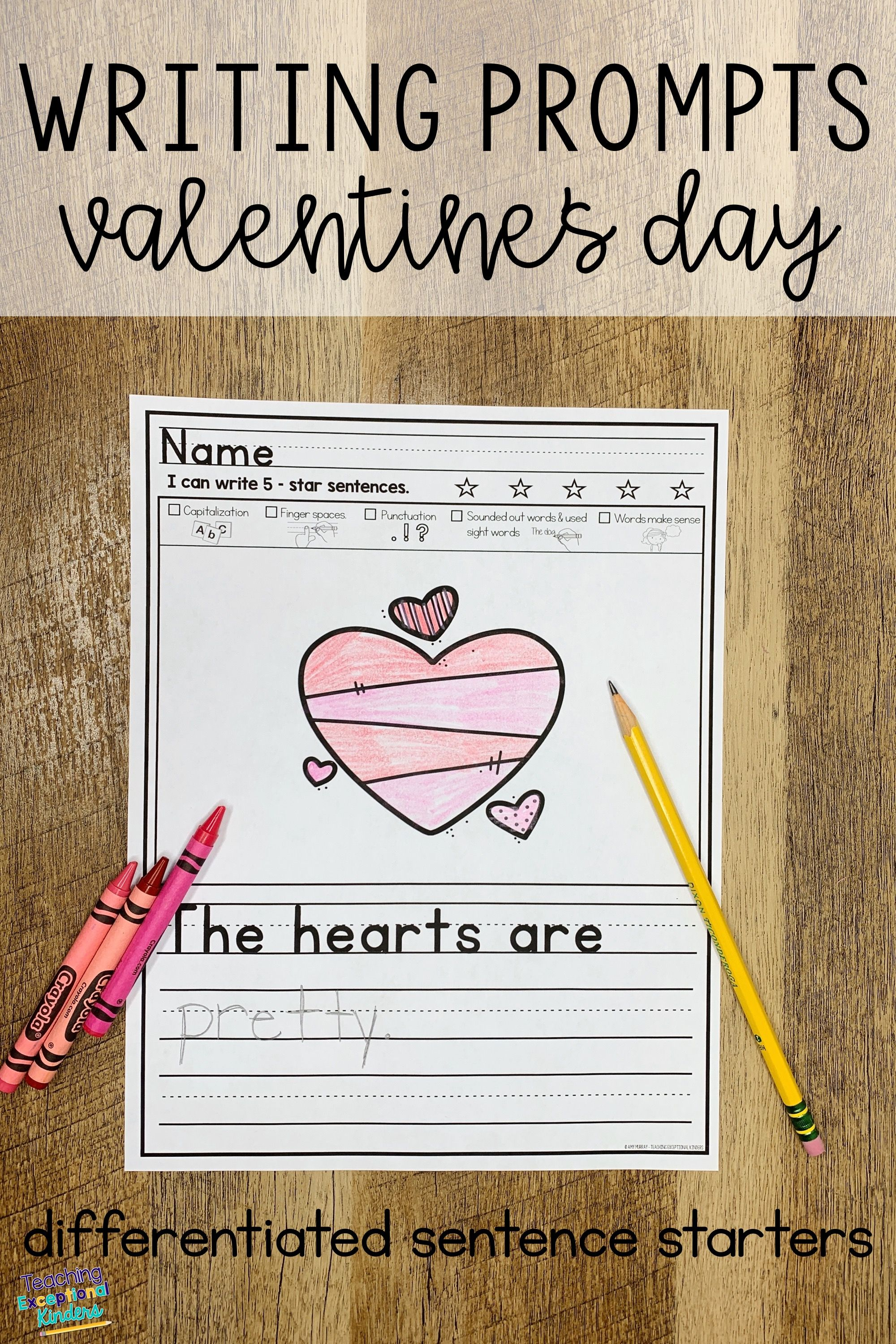 Valentine S Day Picture Writing Prompts With Sentence