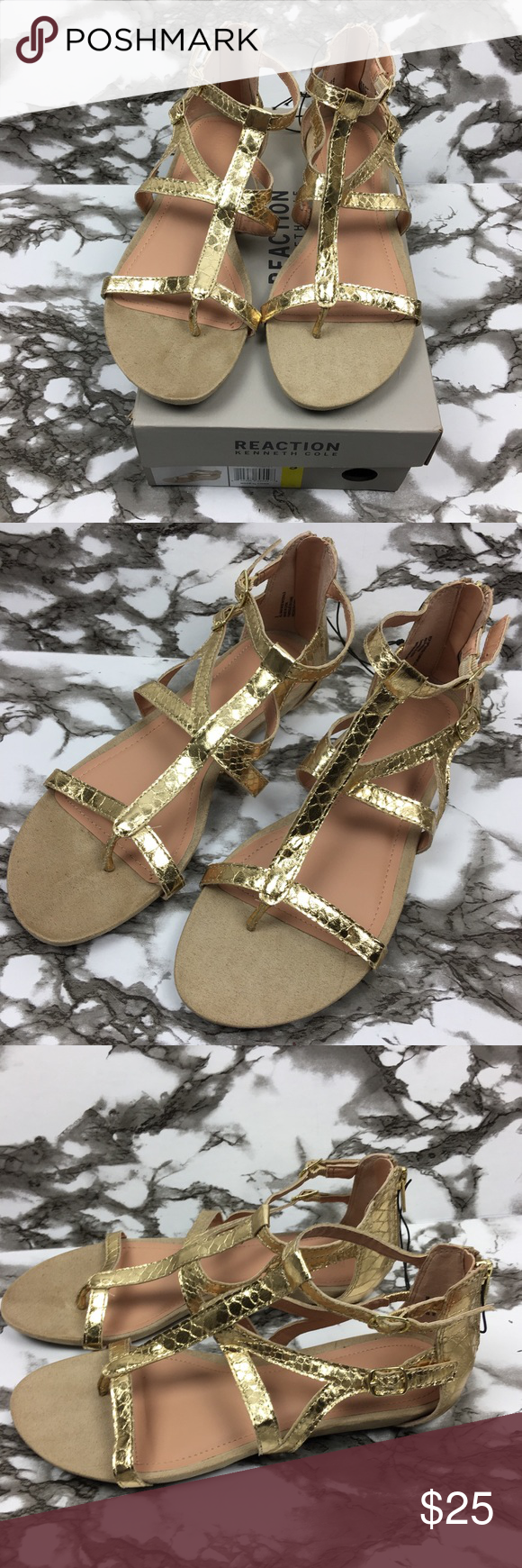 9c37c5aa8427 Kenneth Cole Reaction Gold Gladiator Sandals ~ Kenneth Cole Reaction  Gladiator Sandals • Size  9 • Color  light gold • Style  snakeskin animal  pattern ...