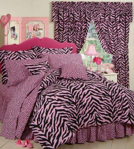 Pink Zebra Complete Bedding Set Black by Kimlor. $89.99. This Pink and Black Zebra Bedding and Drapery Set brings personality andcolor to any bedroom! The comforter face features a bright pink andblack zebra print, and the reverse features a pink leopard print. Shamsfeature zebra print, and the coordinating bed skirt is leopard print.All components of the sheet sets are pink leopard print. Square pillowfeatures a zebra print on one side and is reversible to leopard. Made in USA.S...