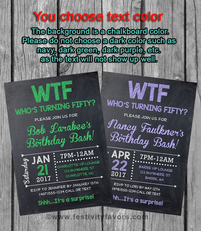 50th Birthday Party Invitations, WTF Who\'s Turning Fifty $1.00 ...