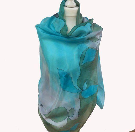 Seidenschal Aqua XL, 175 X 90 Cm, Stola, Handbemalt, Blau