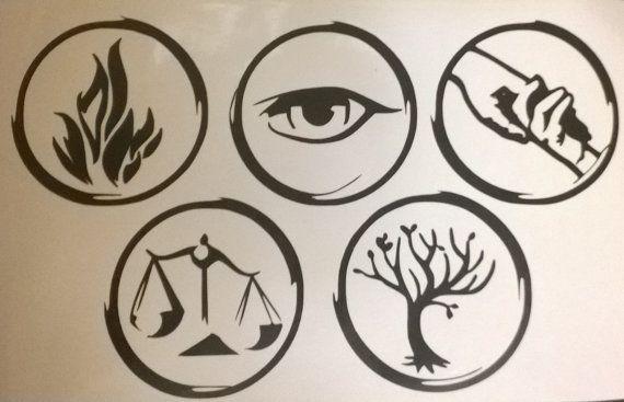 Divergent faction symbols (Dauntless, Erudite, Abnegation ...
