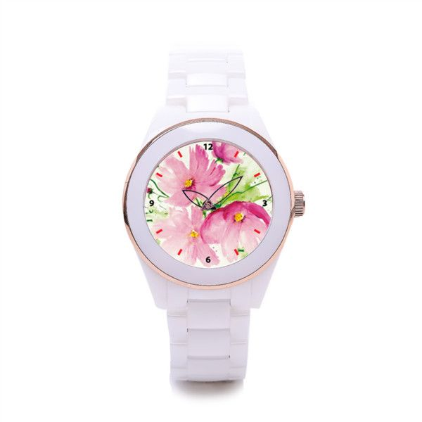 Pink Pink Flower Women's Ceramic Watch Women's Ceramic Watch... (3,065 INR) ❤ liked on Polyvore featuring jewelry and watches