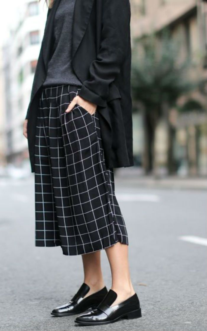 Image result for plaid culottes