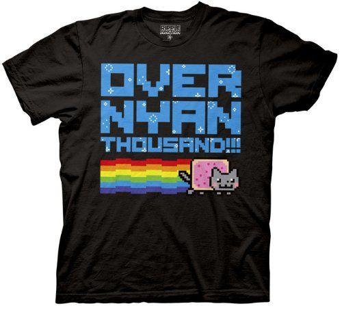 Nyan Cat Over Nyan Thousand T-shirt (Extra Large, Black) Nyan