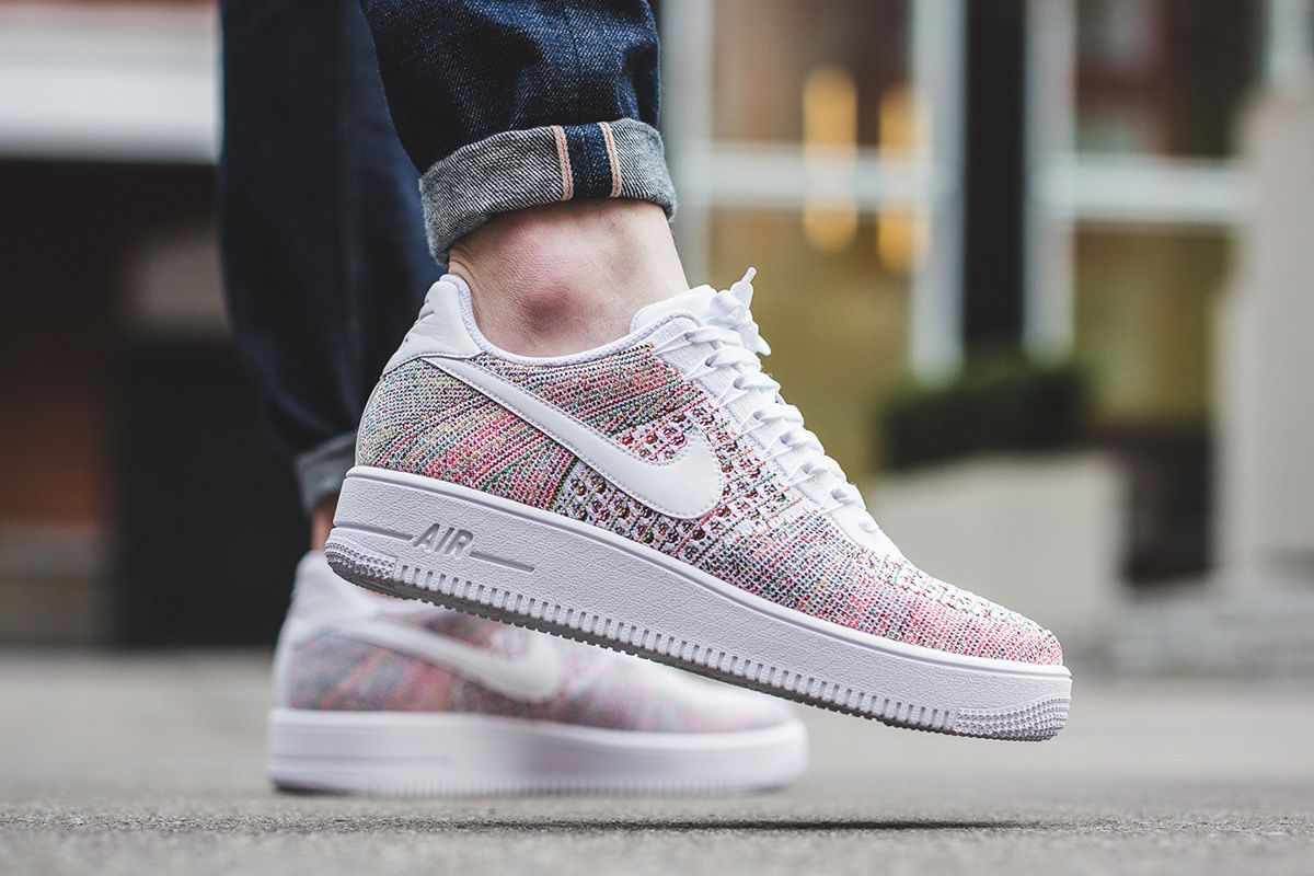 best service ea3f4 8e192 ... On-Foot Nike Air Force 1 Ultra Flyknit Low White Multicolor ...