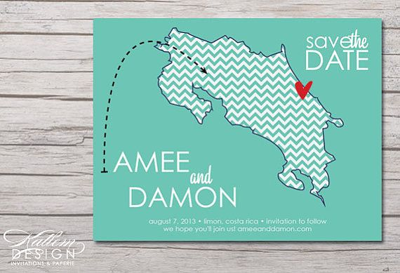 Costa Rica Save The Date Destination By Katleminvitations 15 00