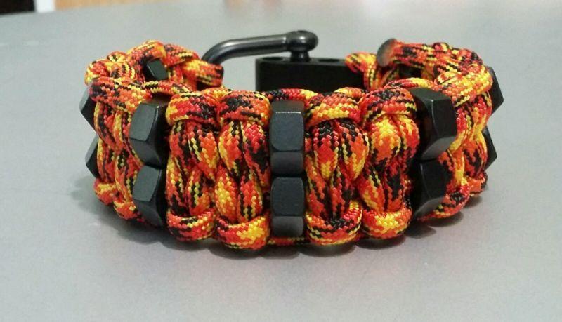 Dddouble Hex Nut Paracord Bracelet With Black Adjustable Shackle