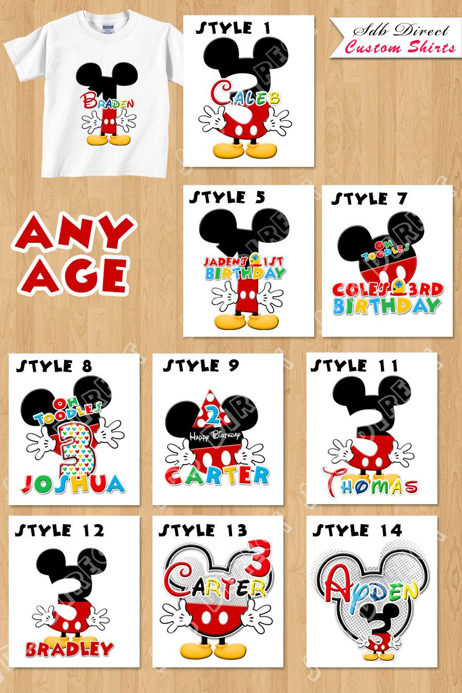 Personalized Mickey Birthday Shirts