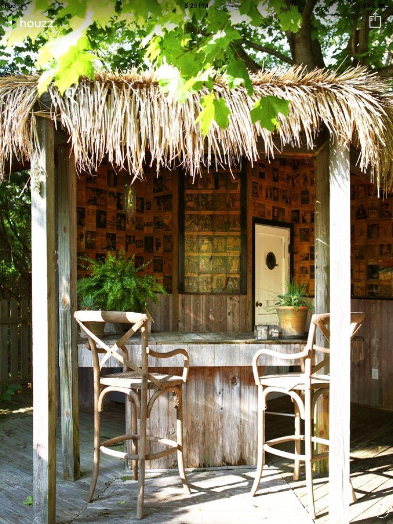 Hawaiian twist to a backyard bar. Outdoor tiki bar