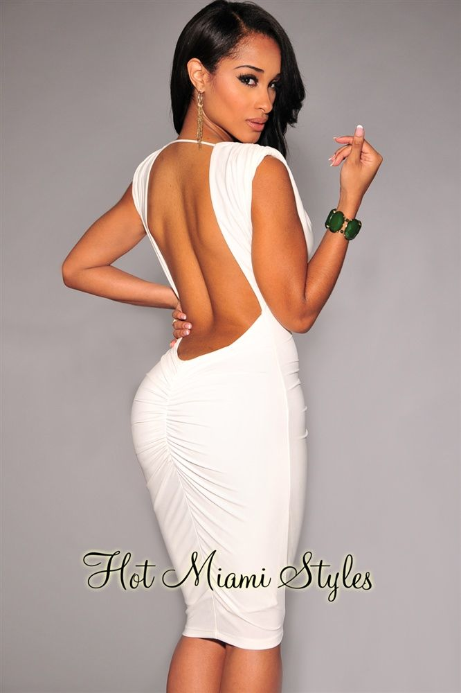 e6d93e4a13d20 Off-White Ruched Low Back Dress in 2019