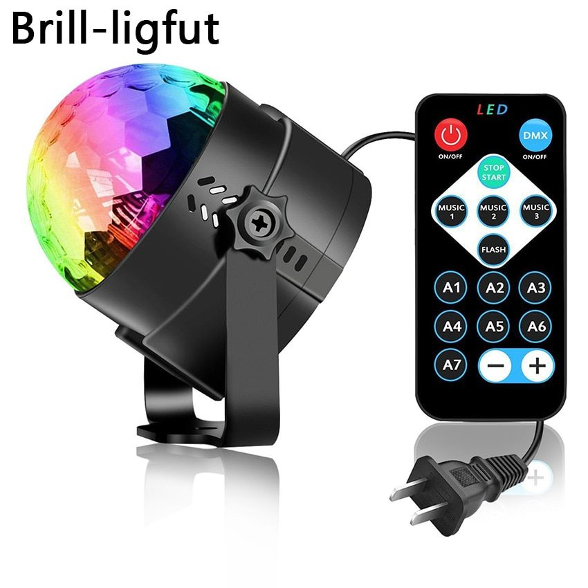 Sound Activated Rotating Disco Ball Party Lights Strobe Light 3w Rgb Led Stage Lights For Christmas Home Ktv X Led Party Lights Led Disco Ball Disco Ball Light