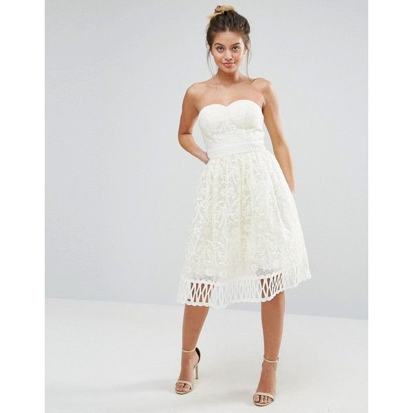 Chi Chi London Strapless Premium Lace Dress 345 Pen Liked On