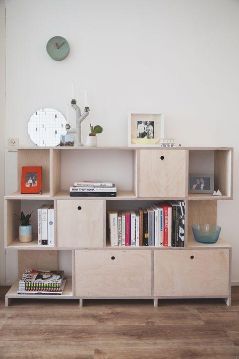 DIY berkenmultiplex boekenkast zelf maken hout creatief | Furniture ...