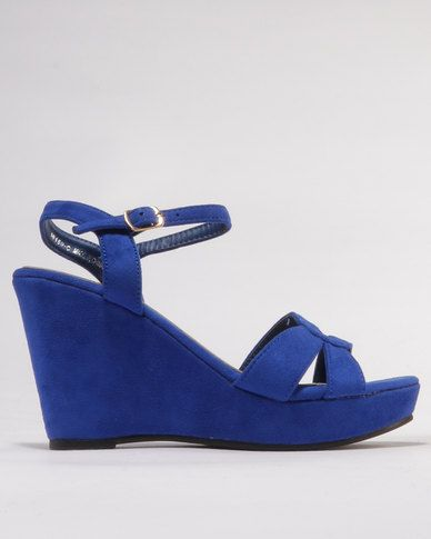 Utopia Utopia Buckle Wedge Sandals Blue/Brown clearance huge surprise outlet locations for sale c2xCH
