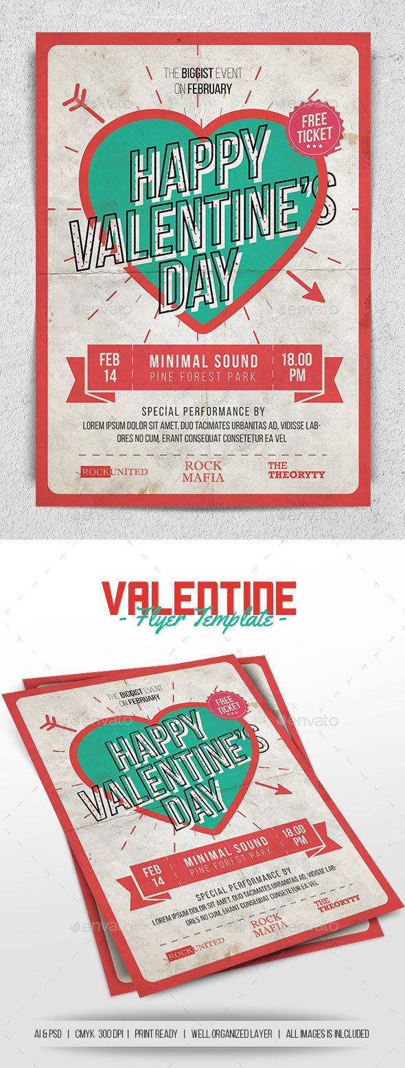 Valentine Flyer | Flyer template, Ai illustrator and Template