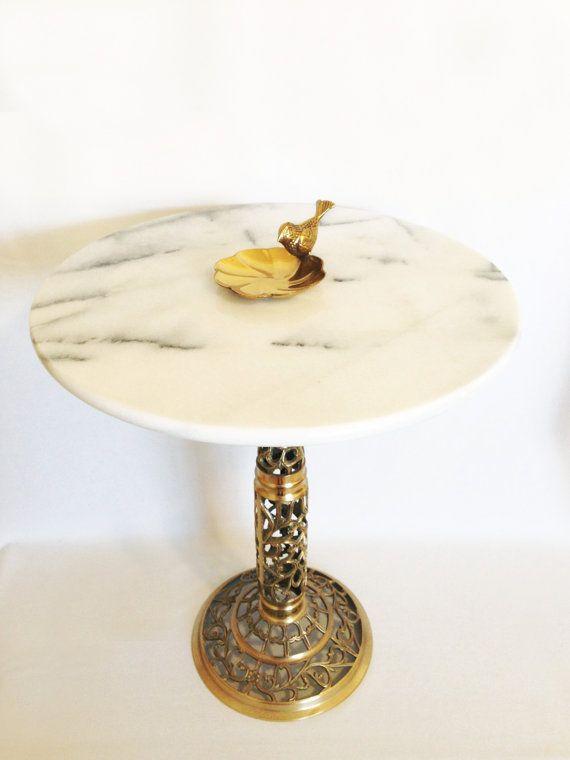 Vintage Marble Top Table Hollywood Regency End By HarpersFlea Hollywood  Regency Furniture