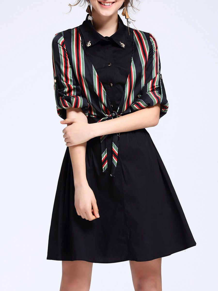 Angel eyes stripes paneled casual long sleeve aline midi dress