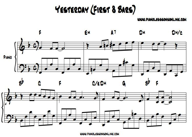 Beatles Piano Lesson Learn Yesterday With Images Piano Music