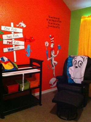 Marvelous Dr Seuss Baby Room With Blue, Green, Orange, Yellow Nursery Wall Paint:
