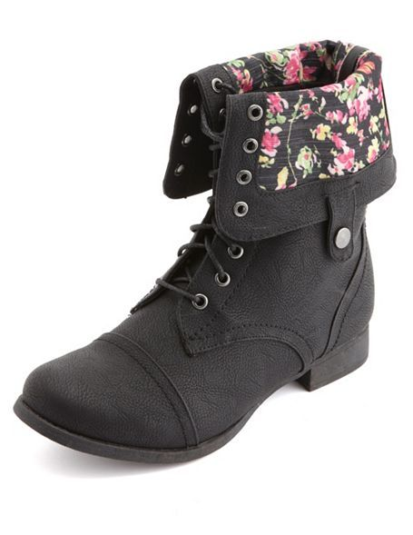 7320b39416a53 Floral-Lined Fold-Over Combat Boots  Charlotte Russe