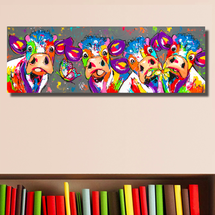 """Large Pig Colourful wall art printed on canvas 30/'/' X 30/"""" solid frame"""