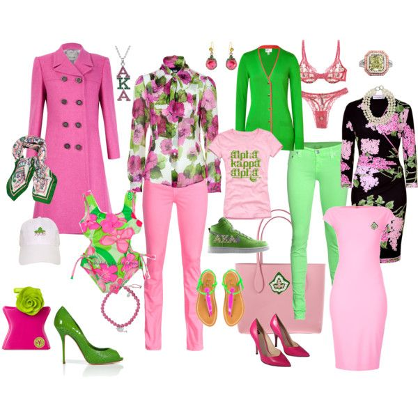 A collection of lovely pink and green fashion ideas from Alpha Kappa Alpha Sorority, Inc.