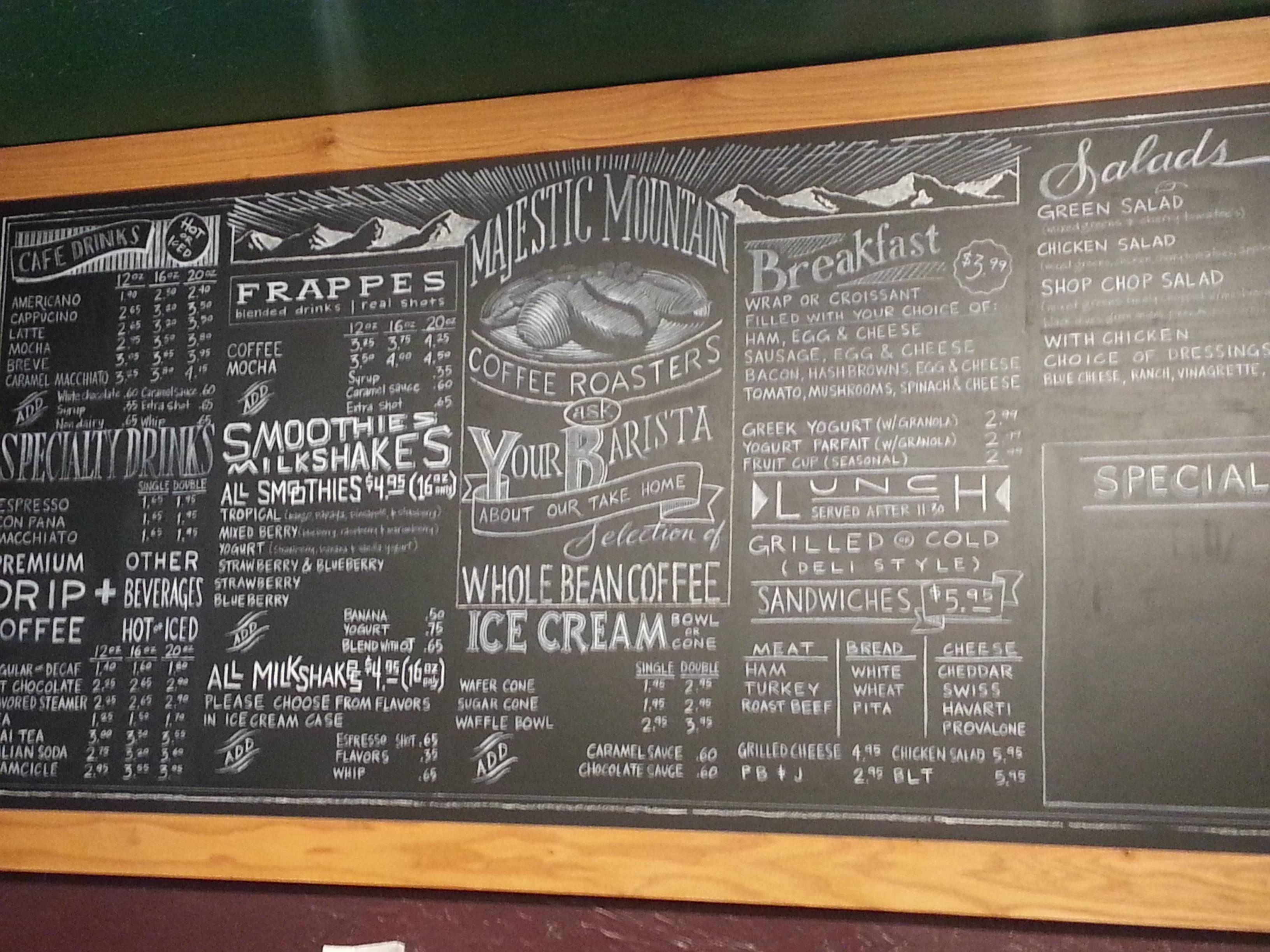 Beautiful Chalk Menu Board In Kingston Wa Chalk Menu Coffee Shop Menu Coffee Shop Menu Board