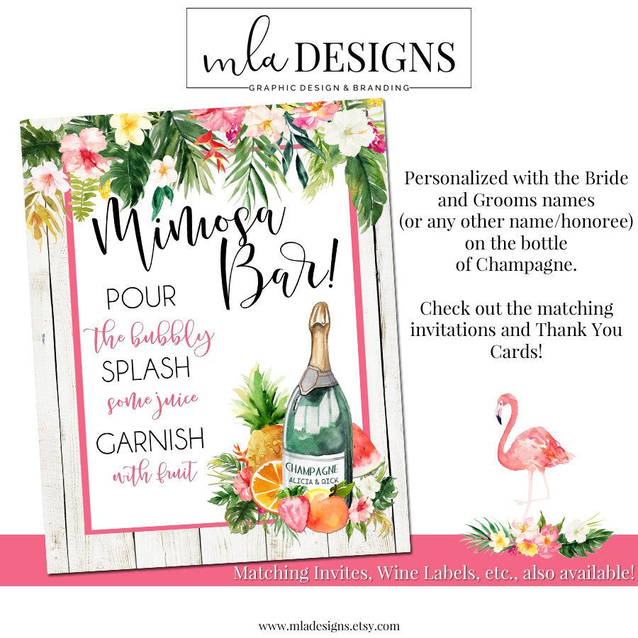 Mimosa Bar Sign, Tropical Sign, Bridal Shower Invitation, Brunch ...