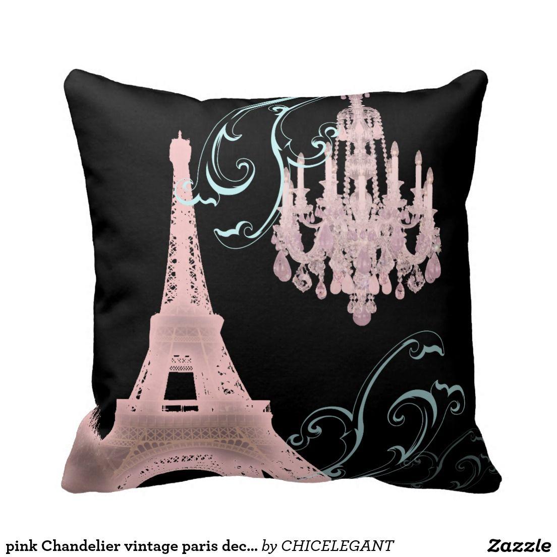 As Creation Pink Paris Pattern Eiffel Tower Childrens: Pink Chandelier Vintage Paris Decor Pillow