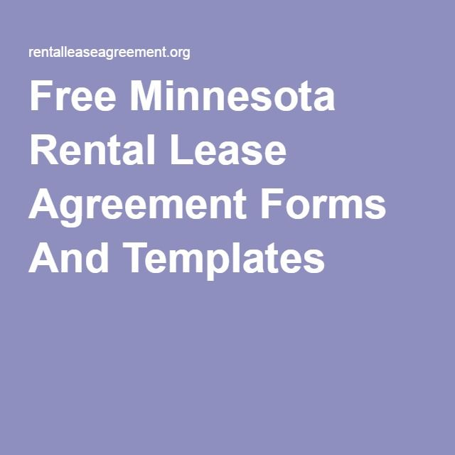 Free Minnesota Rental Lease Agreement Forms And Templates Free Mn