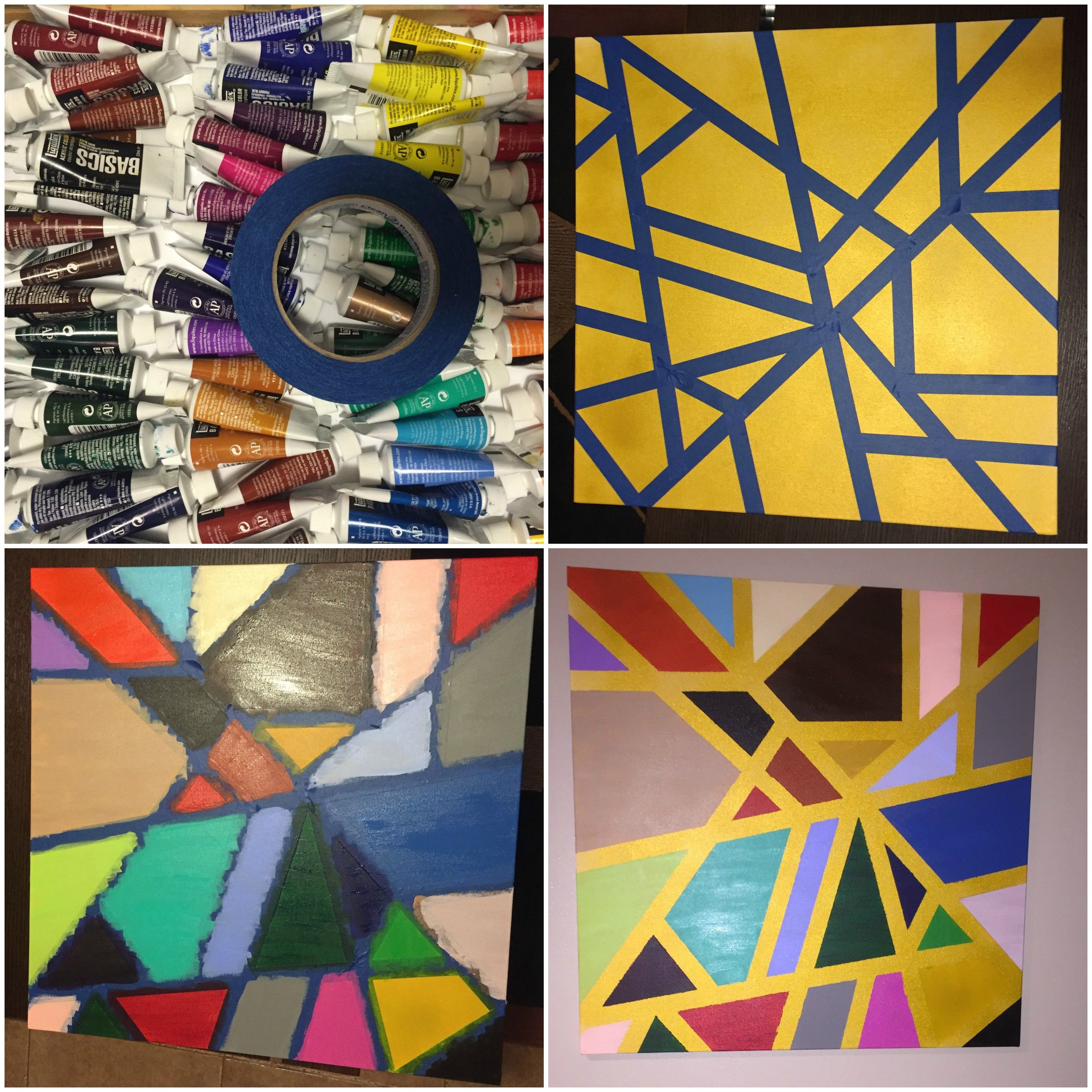 Paint Canvas Tape With Painters Tape Spray Paint Peel Off Tape Diy Art Diy Canvas Painting Diy Painting Projects