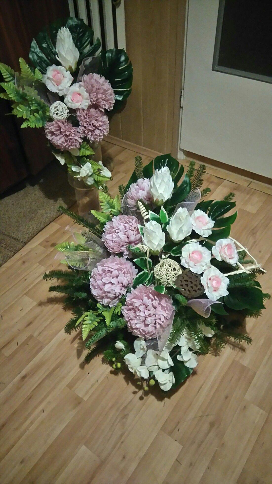 Stroik Na Grob Wszystkich Swietych Funeral Sprays Wreaths Funeral Flowers Flower Arrangements Artificial Flowers