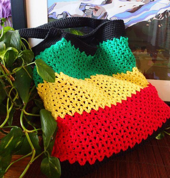 Rasta crocheted bag, nonprofit shop, free US shipping. https://www ...