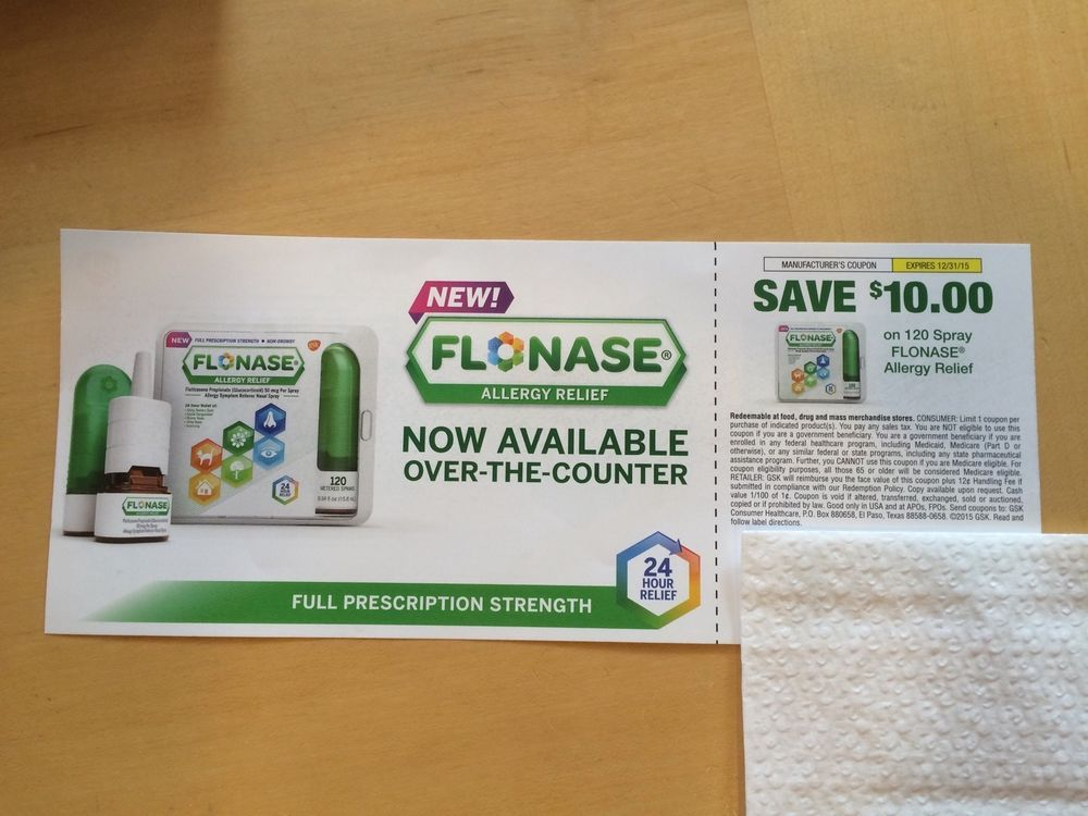 image relating to Flonase Coupons Printable identified as Flonase 120 SprayAllergy Aid $10 Off Coupon Above The