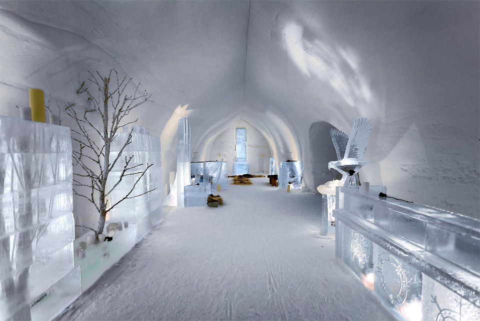 ice hotel lobby from finland