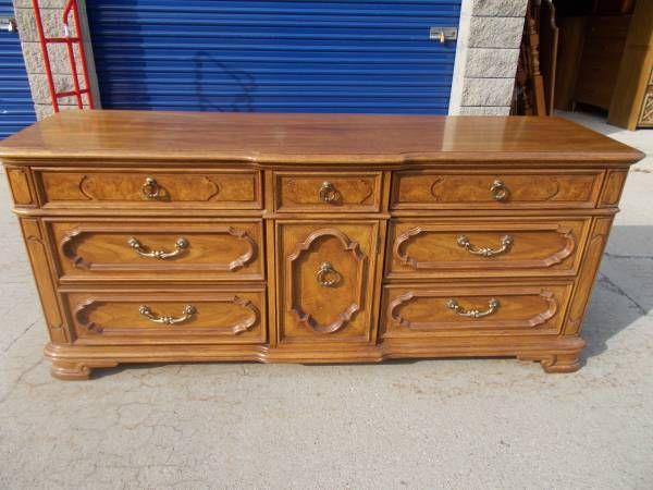 beautiful 9 drawer dresser with tri-fold mirror by ...