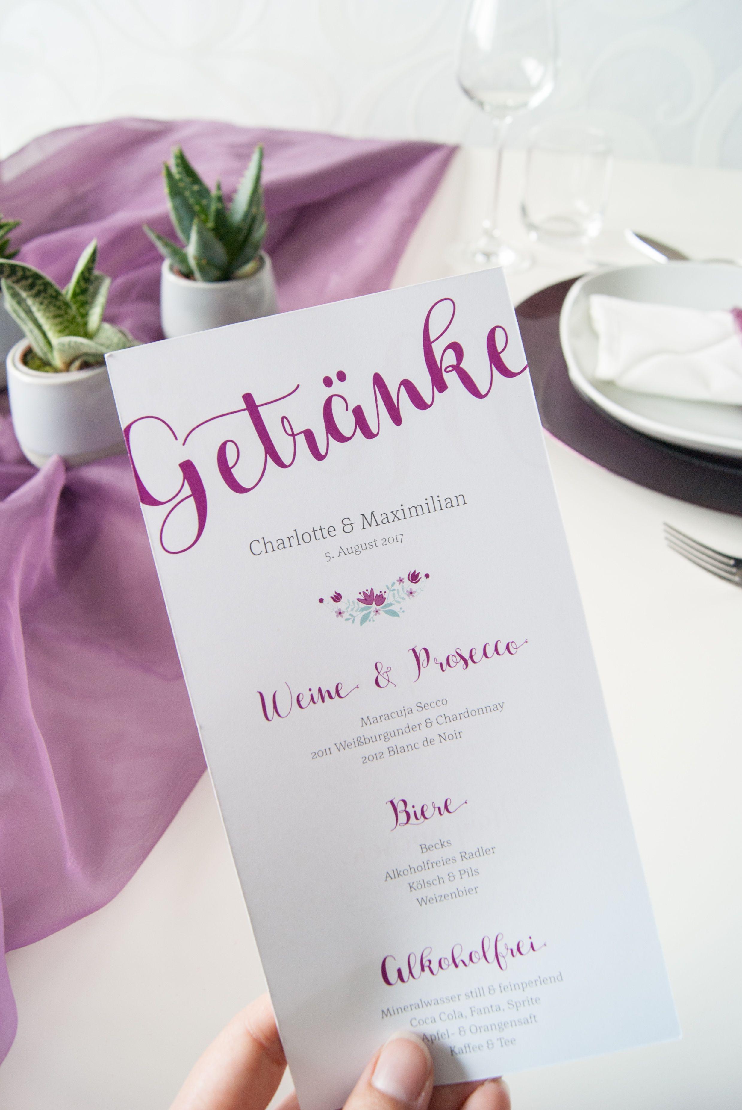 Getrankekarte Lang In Beere Pink Serie Mit Kraftpapier Und