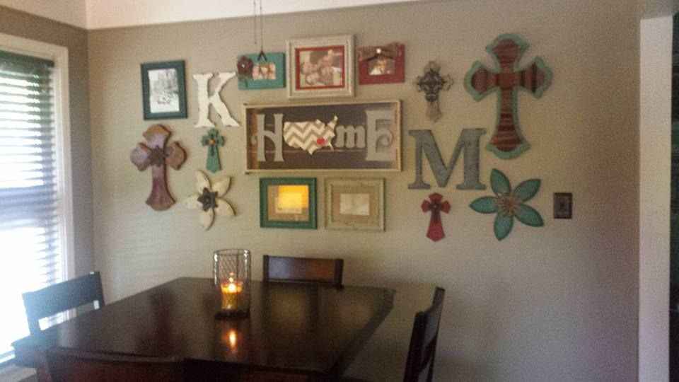 dining area gallery wall, colorful country decor, crosses ...