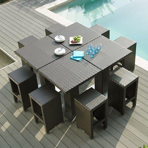 Table haute jardin + 4 tabourets Dolce Vita | salon jardin ...