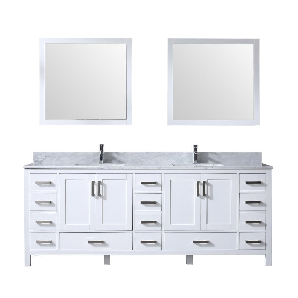 Lexora Jacques 84 In Double Bath Vanity In White W White Carrera