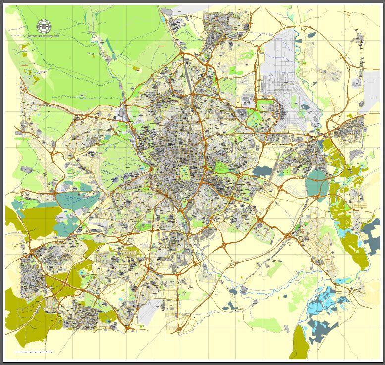 PDF map Madrid Spain printable vector street City Plan map full